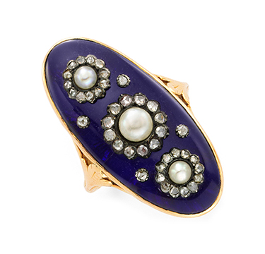An Antique Blue Enamel, Diamond And Seed Pearl Ring, Circa 19th Century