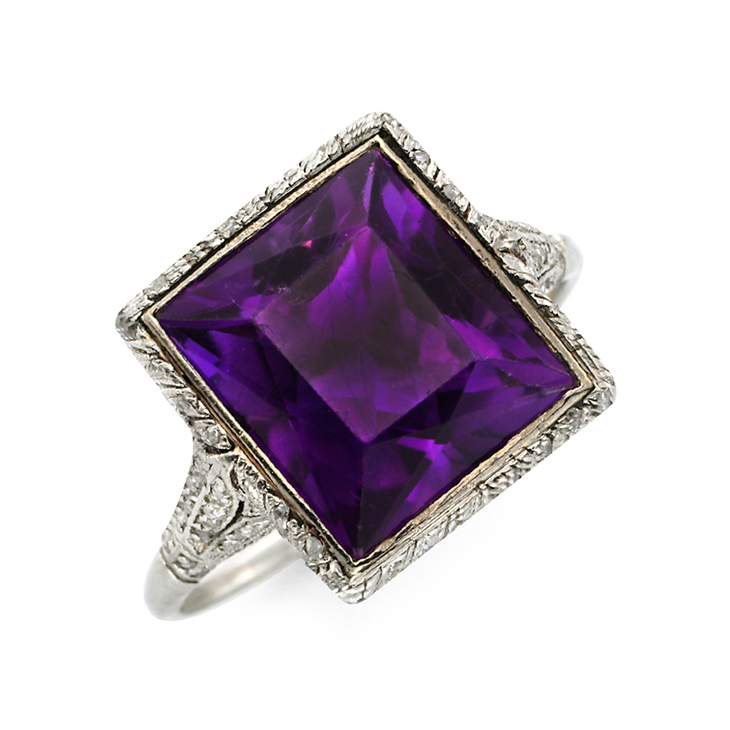 An Edwardian French-cut Amethyst and Diamond Ring, circa 1905