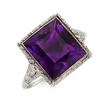 An Edwardian French-cut Amethyst And Diamond Ring, Circa 1905