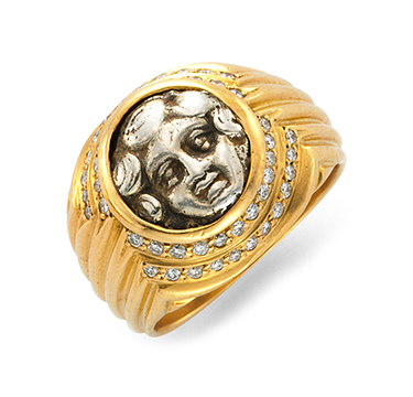 An Ancient Coin And Diamond Ring, By Bulgari, Circa 1985