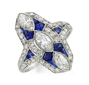 An Art Deco Sapphire and Diamond Plaque Ring, circa 1920