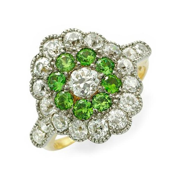 An Art Deco Demantoid Garnet and Diamond Ring, circa 1920