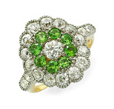 An Art Deco Demantoid Garnet And Diamond Ring, Circa 1920