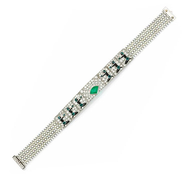 An Egyptian Revival Enamel, Diamond, Emerald And Seed Bracelet, Circa 1925