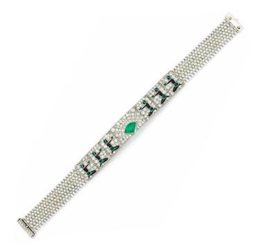 An Egyptian Revival Enamel, Diamond, Emerald and Seed Bracelet, circa 1925