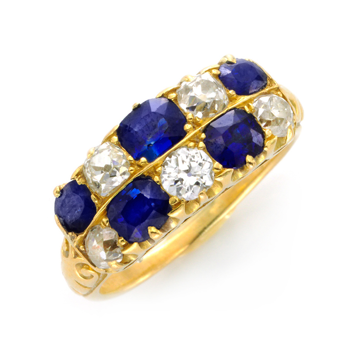 An Antique Sapphire and Diamond Band Ring, circa 1900