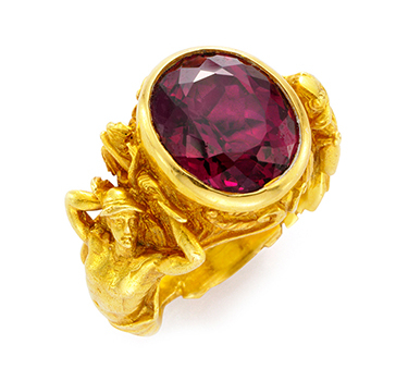 An Antique Almondine Garnet And Gold Ring, Circa 1900