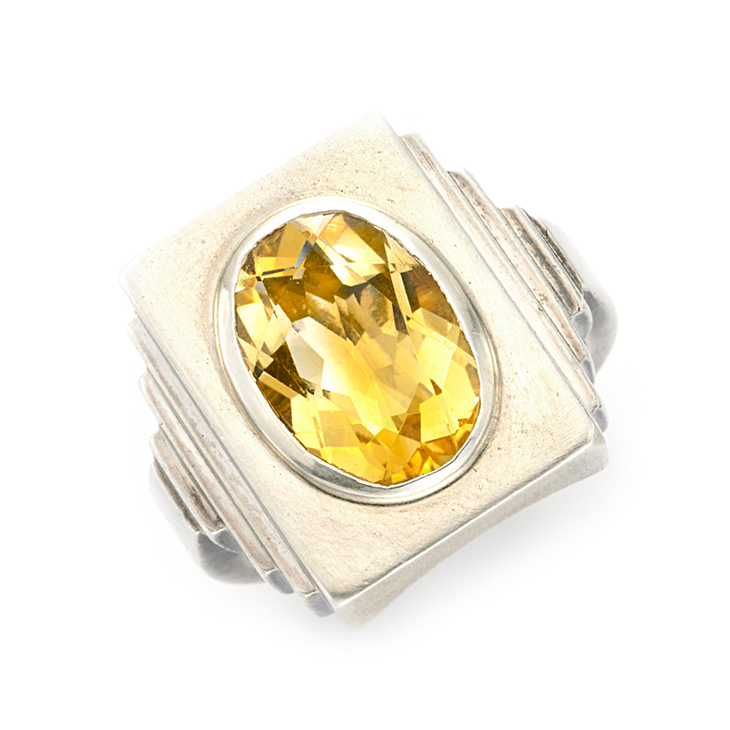 An Art Deco Citrine and Silver Ring, by Boivin, circa 1931