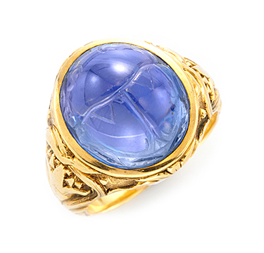 An Art Nouveau Carved Sapphire Scarab And Gold Ring, By Bailey Banks & Biddle, Circa 1900