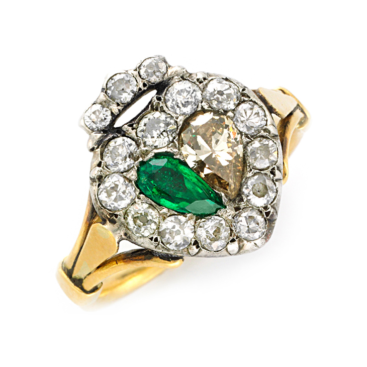 An Antique Emerald and Diamond Heart Ring, 19th Century