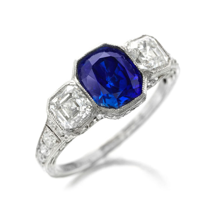 An Art Deco Kashmir Sapphire Ring, of 1.72 carats, by Tiffany & Co.