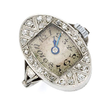 An Edwardian Diamond and Platinum Watch Ring, circa 1910