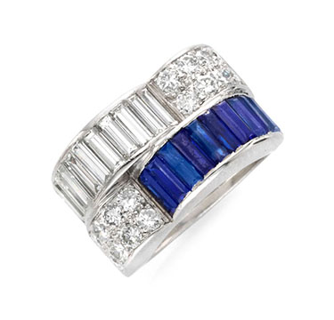 An Art Deco Sapphire And Diamond Ring, Circa 1930