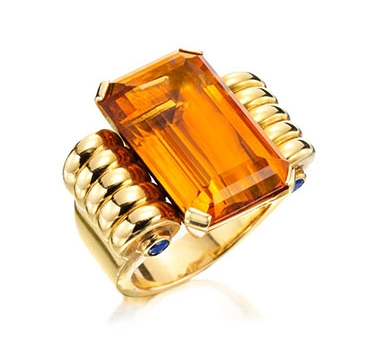 A Retro Citrine And Sapphire Ring, By Boucheron, Circa 1940