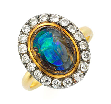 An Antique Carved Opal Scarab And Diamond Ring, 19th Century