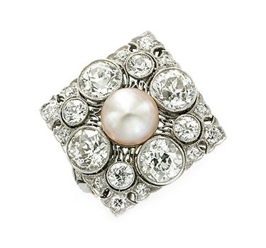 An Art Deco Natural Pearl And Diamond Ring, Circa 1915
