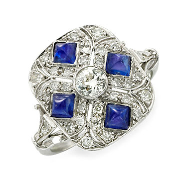 An Art Deco Sapphire And Diamond Ring, Circa 1925