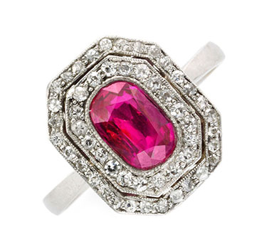 An Art Deco Ruby And Diamond Ring, Circa 1920