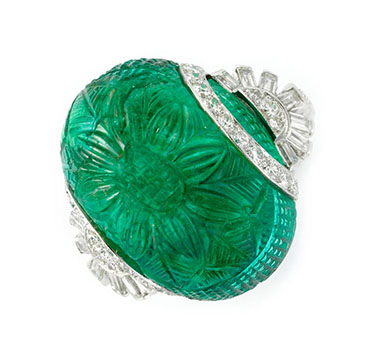 An Art Deco Carved Emerald And Diamond Ring, Circa 1930