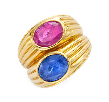 A Multi-colored Sapphire And Gold Twin Stone Ring, By Bulgari