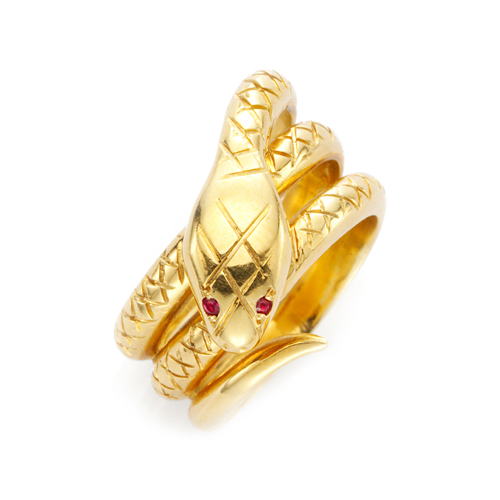 An Antique Gold and Ruby Snake Ring