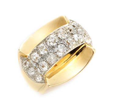 A Retro Gold and Diamond Dome Ring, circa 1940