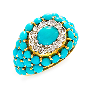 A Turquoise and Diamond Ring, by J.E.Caldwell, circa 1950