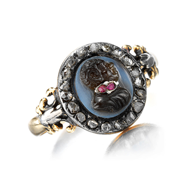 A Georgian Ruby and Diamond Blackamoor Cameo Ring, circa 1820