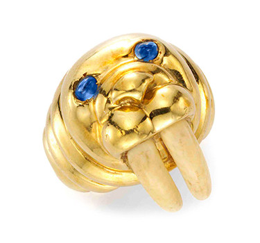 A Sapphire, Ivory And Gold Walrus Ring, By Tiffany & Co., Circa 1960