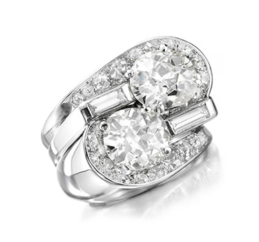 A Twin-stone Diamond Ring, By Suzanne Belperron, Circa 1940