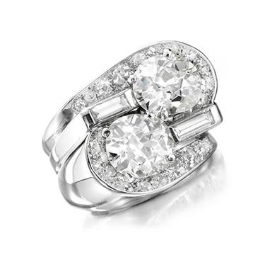 A Twin-stone Diamond Ring, by Suzanne Belperron, circa 1940