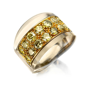 A Colored Diamond and Rock Crystal Ring, by Suzanne Belperron