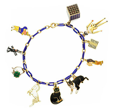 An Art Deco Enamel, Multi-gem and Gold Charm Bracelet, circa 1930