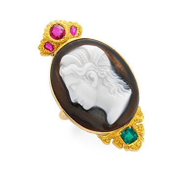 An Antique Cameo, Emerald And Ruby Ring