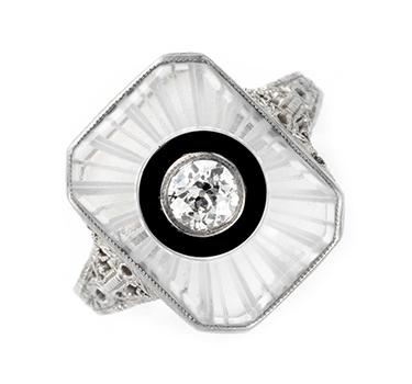 An Art Deco Rock Crystal, Onyx And Diamond Ring