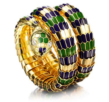 An Enamel, Diamond And Gold Serpent Bracelet, By Bulgari, Circa 1965