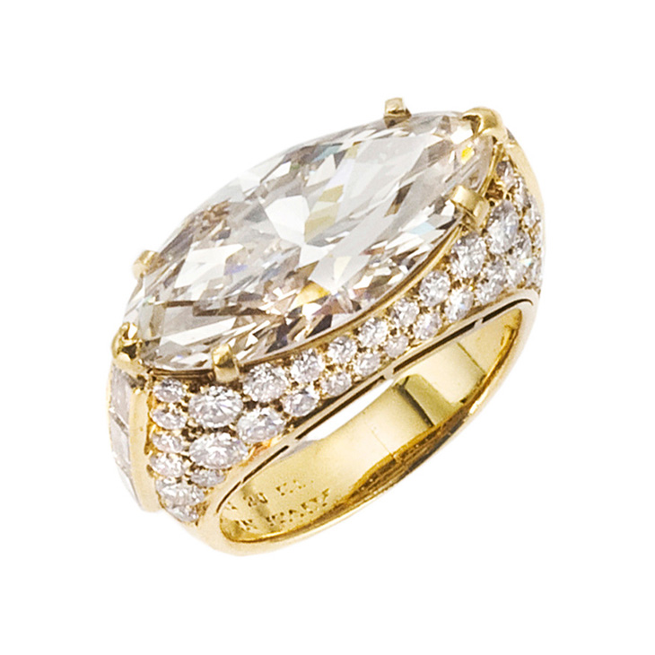 A Marquise-cut Diamond Ring, by Bulgari