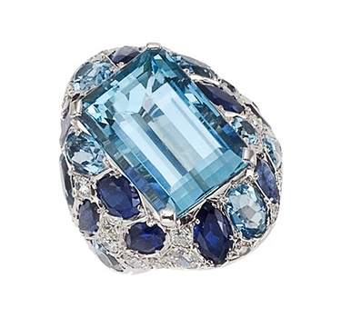 An Aquamarine And Sapphire Ring, By Suzanne Belperron