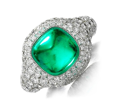 Cabochon Emerald And Diamond Ring