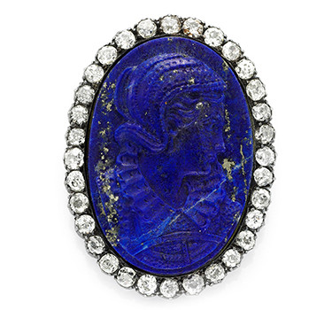 A Carved Lapis Lazuli And Diamond Cameo Pin, Circa 19th Century