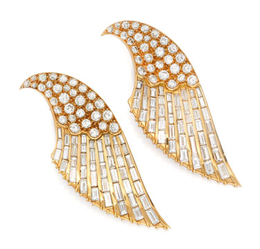 A Pair of Diamond and Gold Clip Brooches, by Sterle, circa 1940
