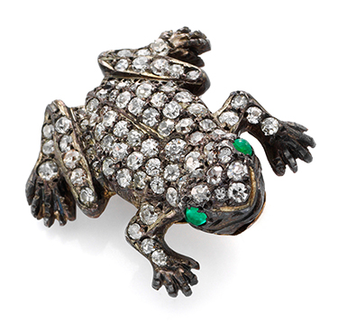 An Antique Diamond and Emerald Frog Brooch, 19th Century