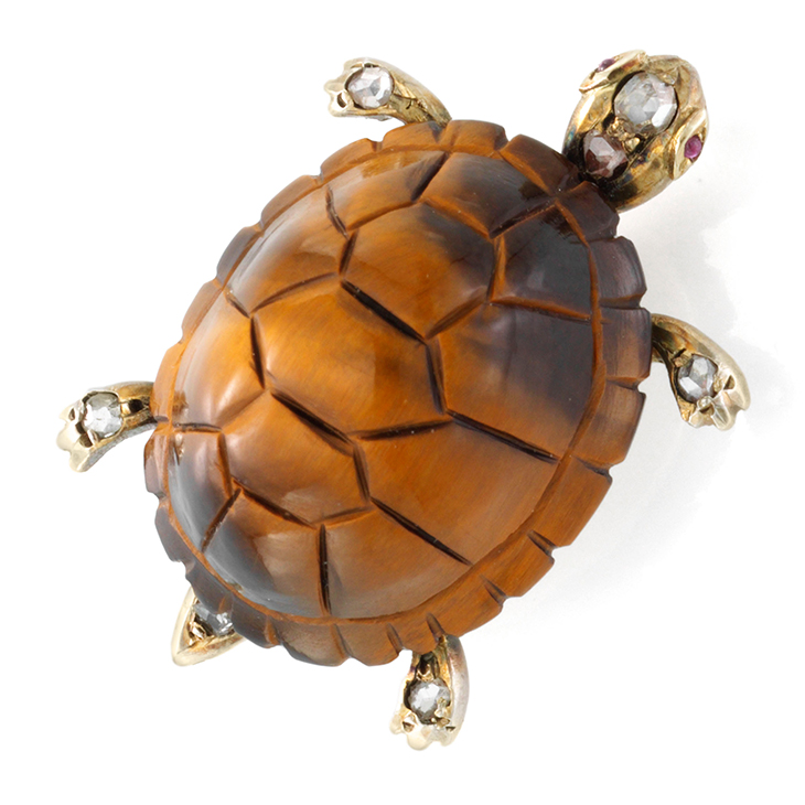 An Antique Tortoise Shell and Diamond Brooch, 19th Century