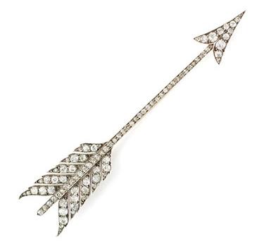 An Oversized Antique Diamond Arrow Brooch, 19th Century