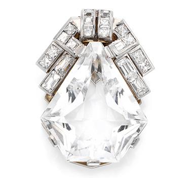 An Art Deco Rock Crystal And Diamond Clip Brooch, Circa 1920