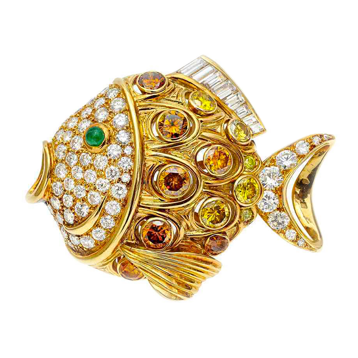 A Multi-colored Diamond Fish Brooch, by Rene Boivin