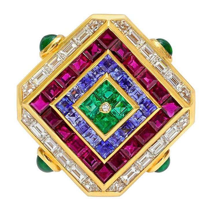 A Multi-gem and Diamond 'Carre' Brooch, by Bulgari