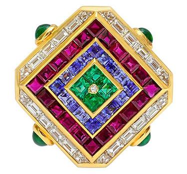 A Multi-gem And Diamond 'Carre' Brooch, By Bulgari