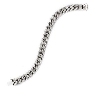 A White Gold And Diamond Chain Link Bracelet, Circa 1940