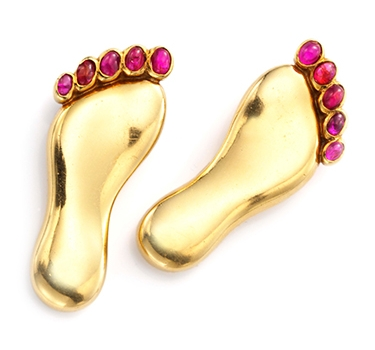 A Pair Of Retro Ruby And Gold Brooches, By Paul Flato, Circa 1940